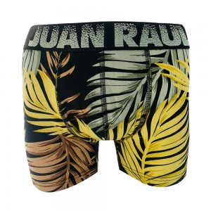 Erkek Sarı Yaprak Desenli Boxer