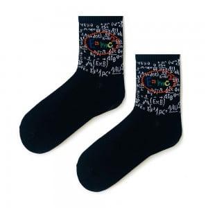 Formül Desenli Siyah Tenis Çorap
