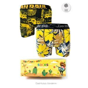 Erkek 2'li Sarı Yapraklı Boxer Kutusu