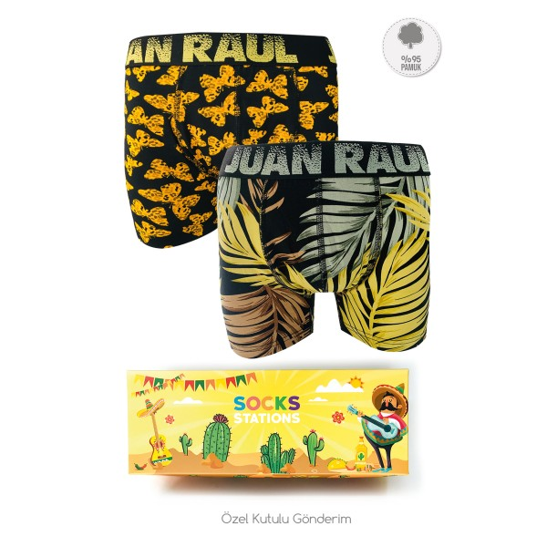 Erkek 2'li Sarı Yaprak-Kelebek Boxer Kutusu