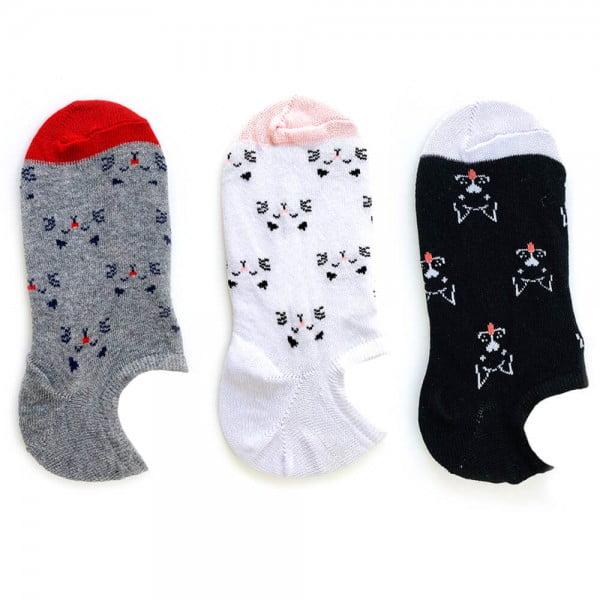3'lü Kedi Desenli Çorap Seti