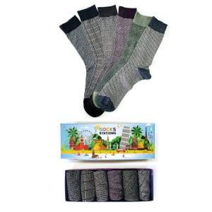 (43-47) 6'lı Erkek Karışık Desenli Bambu Çorap Kutusu