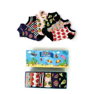 6'li Meyve Desenli Çorap Kutusu
