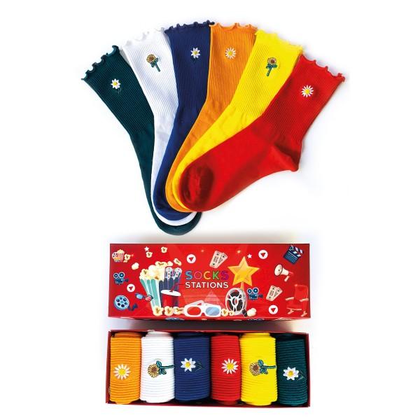 6'lı Papatya Desenli Çorap Kutusu
