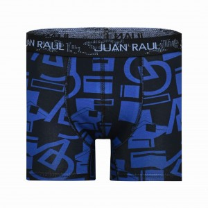 Erkek Geometrik Desenli Mavi Boxer
