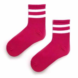 Tenis çift çizgi pembe çorap