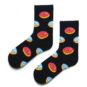 Renkli Donutlu Lacivert Çorap