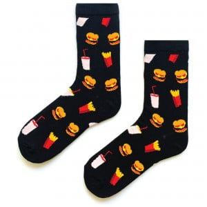 Siyah Hamburger Desenli Çorap