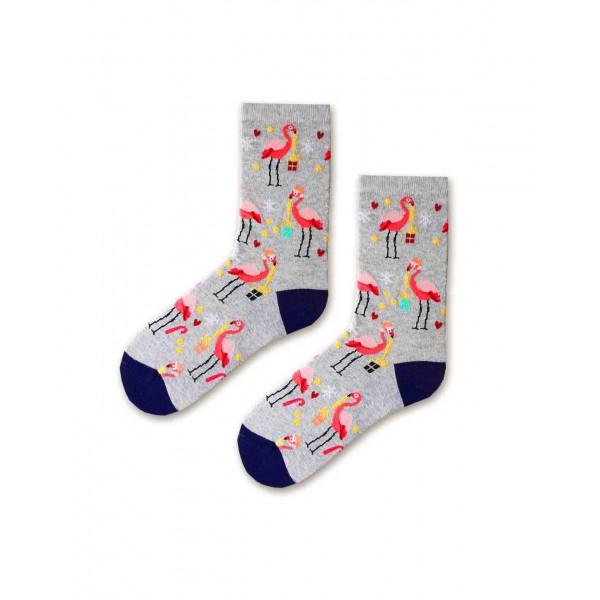 Flamingo Desenli Hediye Şekilli Gri Renkli Soket Çorap
