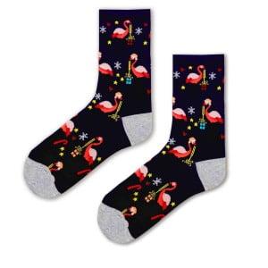 flamingo Desenli Hayvan Şekilli Mavi Renkli Soket Çorap